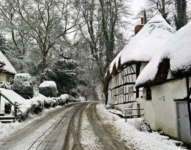 Wherwell - High Street in Winter